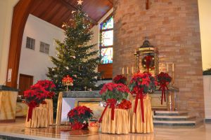 The altar, with Christmas tree in background.